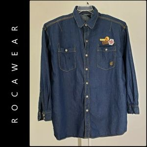 Rocawear Men Button Front Chambray Shirt Size 3X